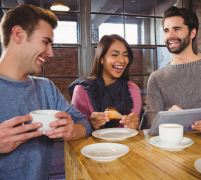 Work team enjoying gourmet coffee catering in Redmond